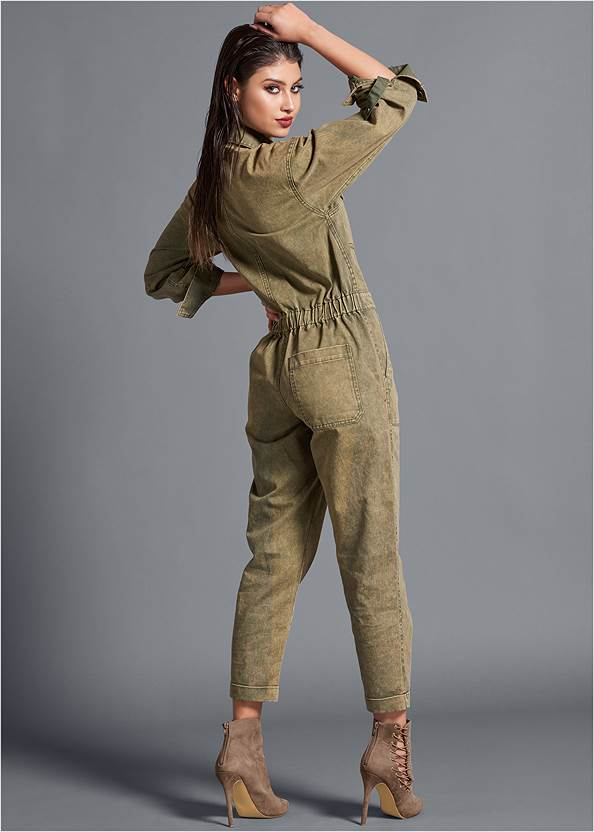 Full back view Cuffed Boiler Jumpsuit