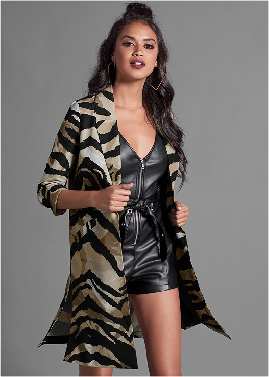 TIGER PRINT LONG BLAZER,BELTED FAUX LEATHER ROMPER,LACE UP BOOTIE