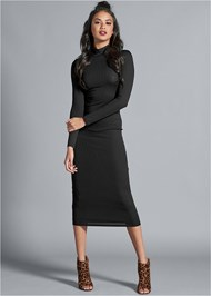 Front View Cut Out Ribbed Dress