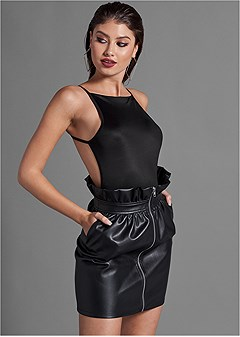 paperbag faux leather skirt