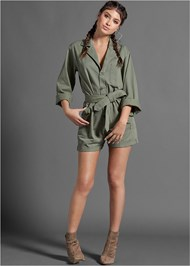 Full front view Belted Utility Romper