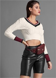 Front View Faux Leather Bike Short