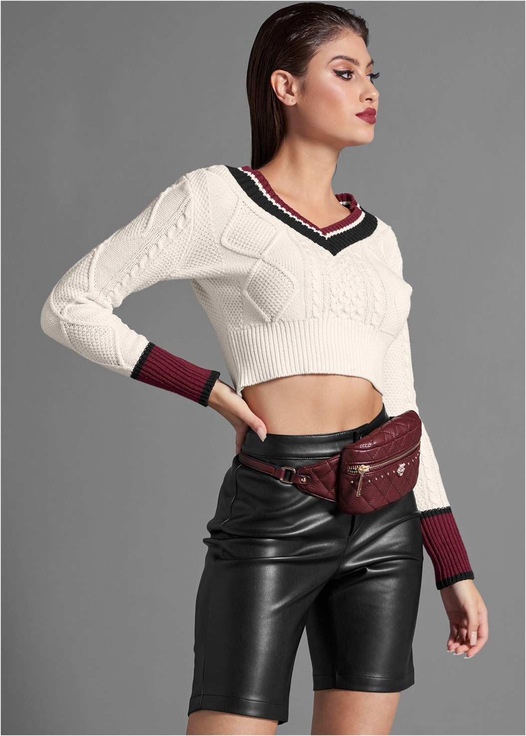 Faux Leather Bike Short,Buckle Detail Booties,Quilted Belt Bag