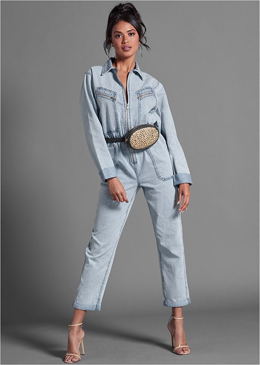 ACID WASH DENIM BOILER SUIT,PRINT BELT BAG