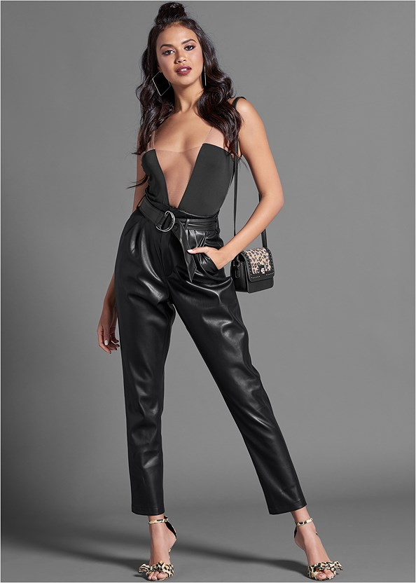 Faux Leather Belted Pant,Illusion Mesh Bodysuit
