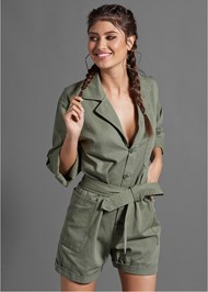 Cropped front view Belted Utility Romper