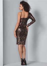Back View Python Print Sequin Dress