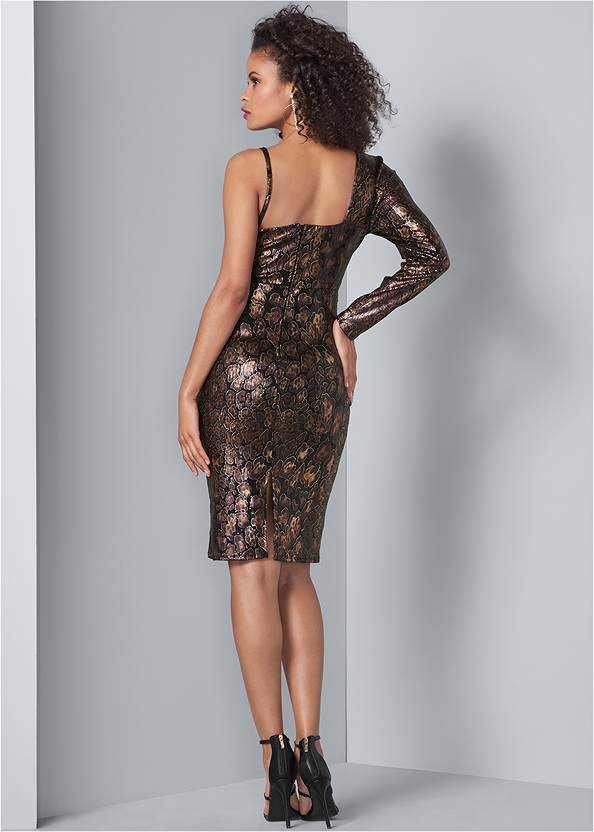 Back View Python Print Sequin Dress
