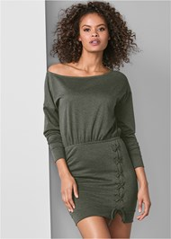 Front View Lace Up Detail Lounge Dress