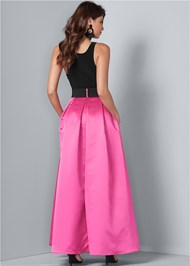 Back View Belted Long Dress