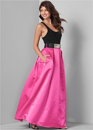 Front View Belted Long Dress