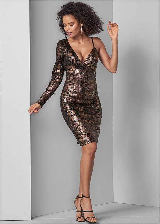 PYTHON PRINT SEQUIN DRESS,HIGH HEEL STRAPPY SANDALS