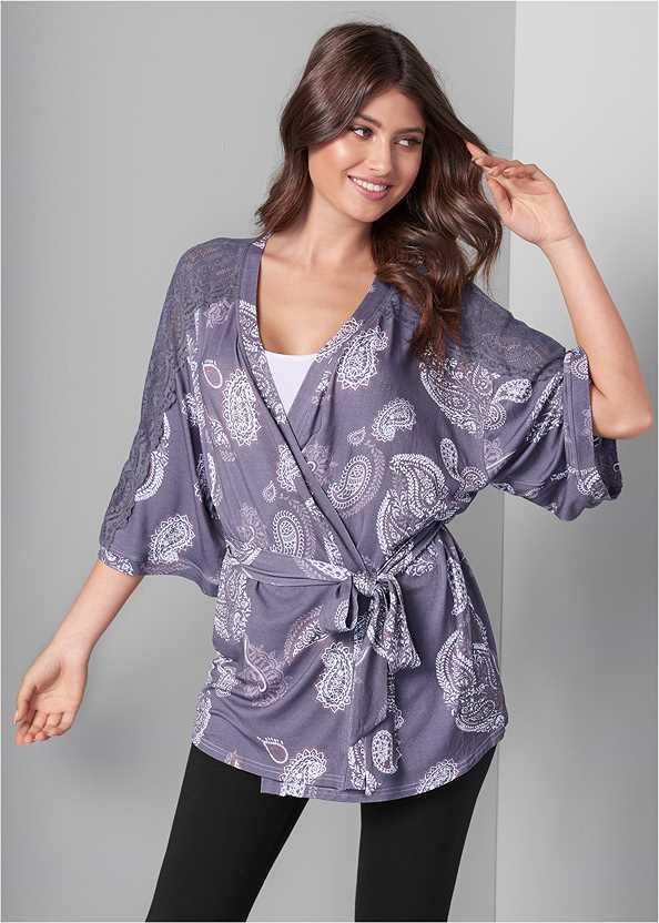 Lace Detail Robe,Basic Leggings,Basic Cami Two Pack