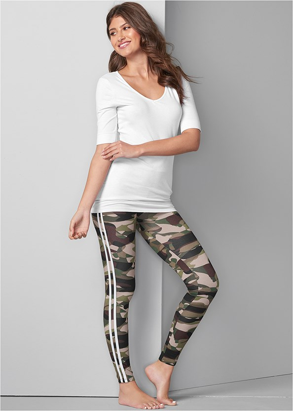 Stripe Detail Sleep Legging,Long And Lean V-Neck Tee