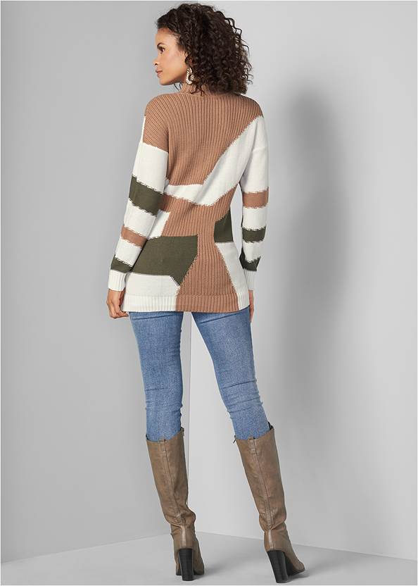 Back View Patchwork Mock Neck Sweater