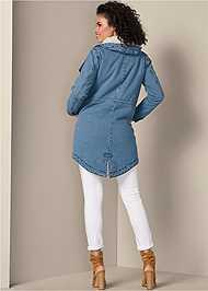 Back View Fleece Lined Denim Coat