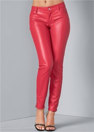 Front View Faux Leather Pants
