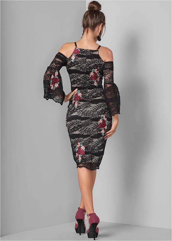 Back View Lace With Appliques Dress
