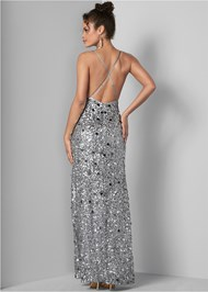 Full back view Sequin And Paillettes Gown