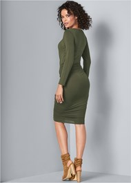 Back View Ruched Scoop Neck Dress