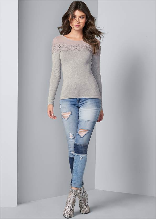 Alternate View Ribbed Detail Sweater