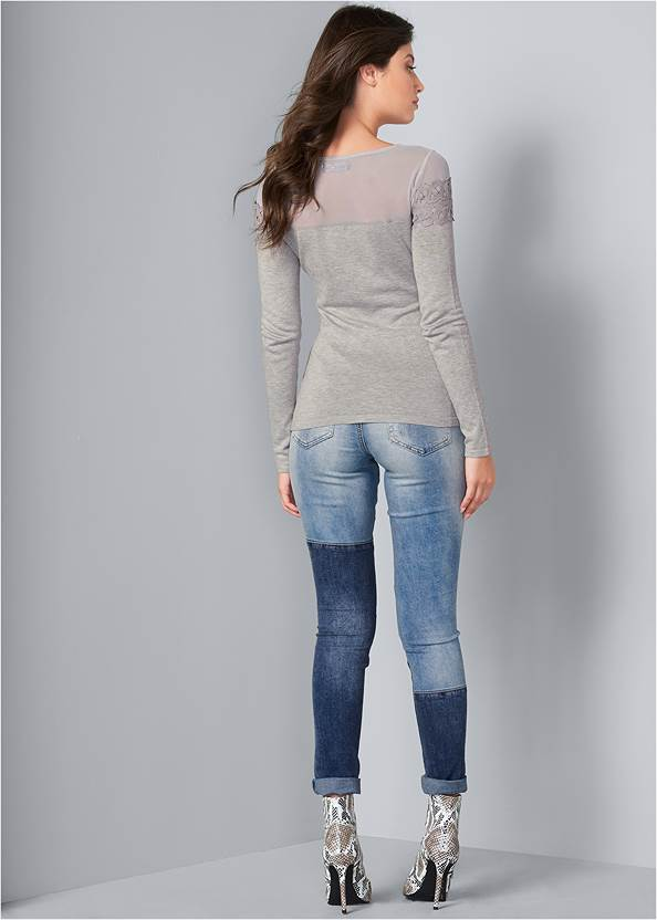 Back View Ribbed Detail Sweater