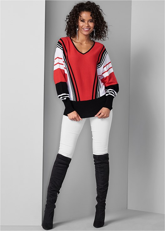 SLIMMING STRETCH JEGGINGS,STRIPED SWEATER,CUT OUT DETAIL BOOTS