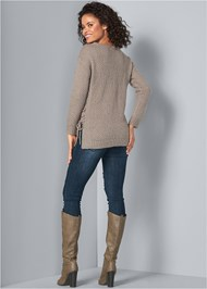 Back View Lace Up Sweater