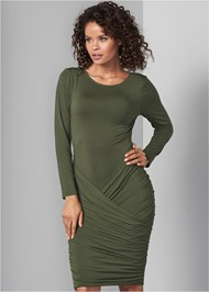Front View Ruched Scoop Neck Dress