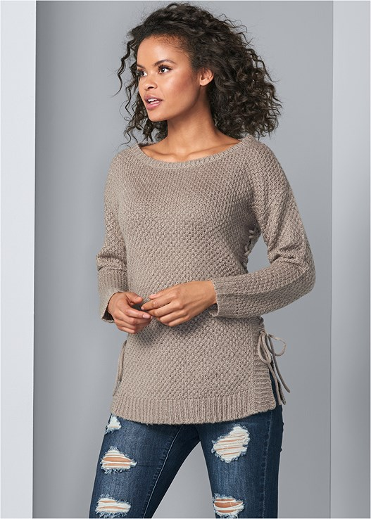 LACE UP SWEATER,DISTRESSED BUM LIFTER,SMOOTH LONGLINE PUSH UP BRA,LACE UP TALL BOOTS