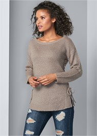 Cropped Front View Lace Up Sweater