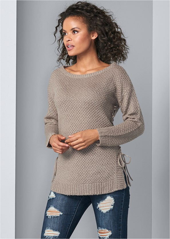 Lace Up Sweater,Ripped Bum Lifter Jeans,Bum Lifter Jeans,Smooth Longline Push Up Bra,Lace Up Tall Boots