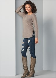 Front View Lace Up Sweater