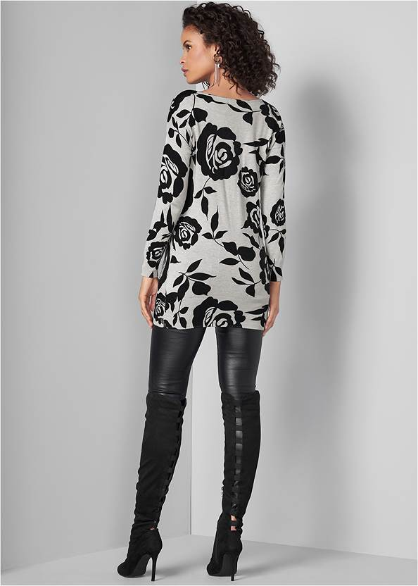 Back View Floral Tunic Sweater