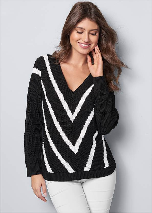 V-Neck Striped Sweater,Mid Rise Slimming Stretch Jeggings,Stretch Back Boots