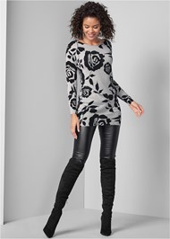 Front View Floral Tunic Sweater