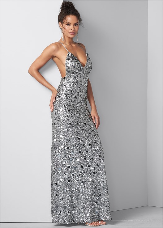 SEQUIN AND PAILLETTES GOWN,CUPID BACKLESS U PLUNGE BRA,HIGH HEEL STRAPPY SANDALS,BEADED TASSEL EARRINGS