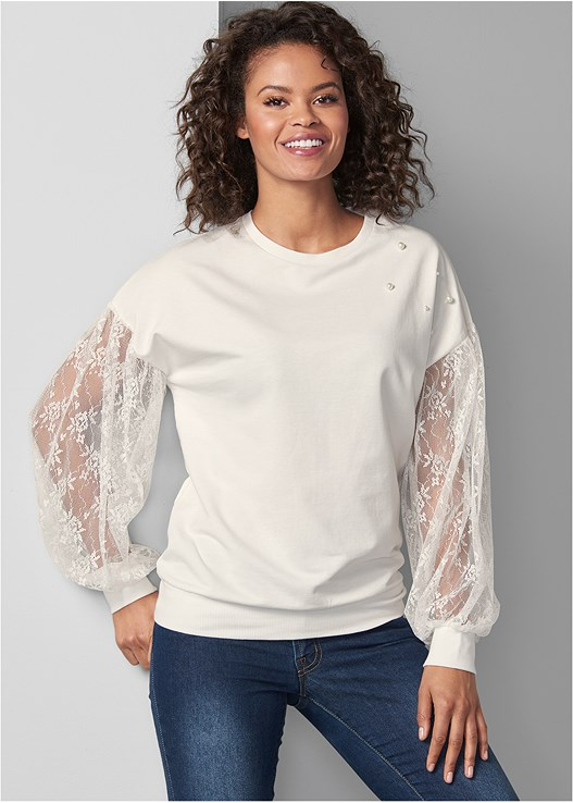 LACE SLEEVE SWEATSHIRT,COLOR SKINNY JEANS,PULLOVER LACE BRA