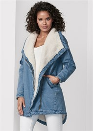 Cropped Front View Fleece Lined Denim Coat