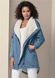 Cropped Front View Fleece Lined Denim Coat