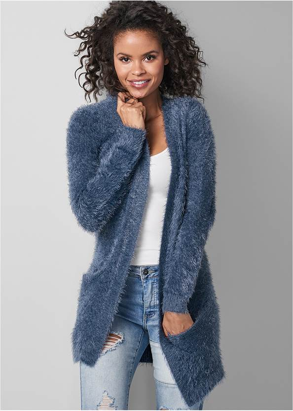 Cozy Cardigan,Basic Cami Two Pack,Distressed Patchwork Jeans