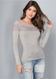 Front View Ribbed Detail Sweater