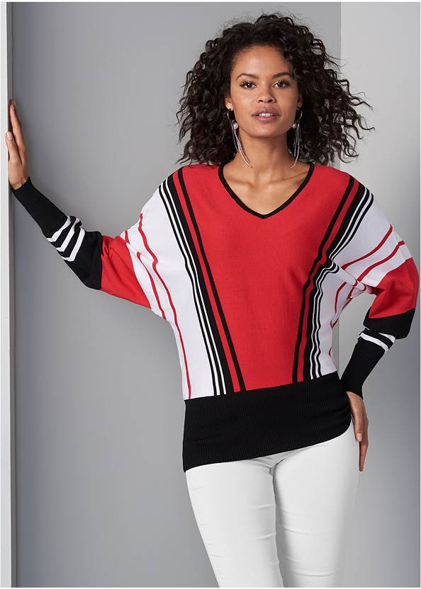 Striped Sweater,Mid Rise Slimming Stretch Jeggings
