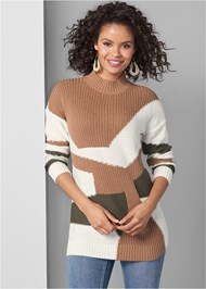 Cropped Front View Patchwork Mock Neck Sweater