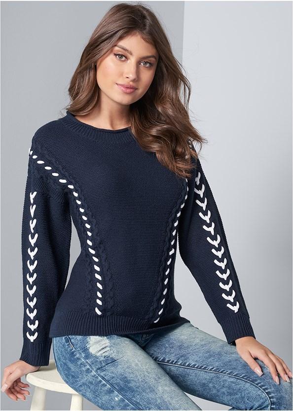 Stitch Detail Sweater,Acid Wash Jeans,Unlined Demi Bra