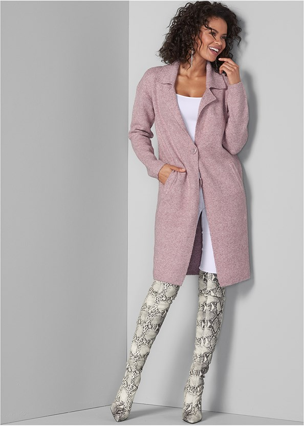 Long Sweater Coat,Basic Cami Two Pack,Mid Rise Slimming Stretch Jeggings,Animal Print Boots,Rhinestone Fringe Earrings