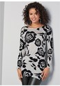 Cropped Front View Floral Tunic Sweater
