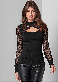 cut out detail lace sweater