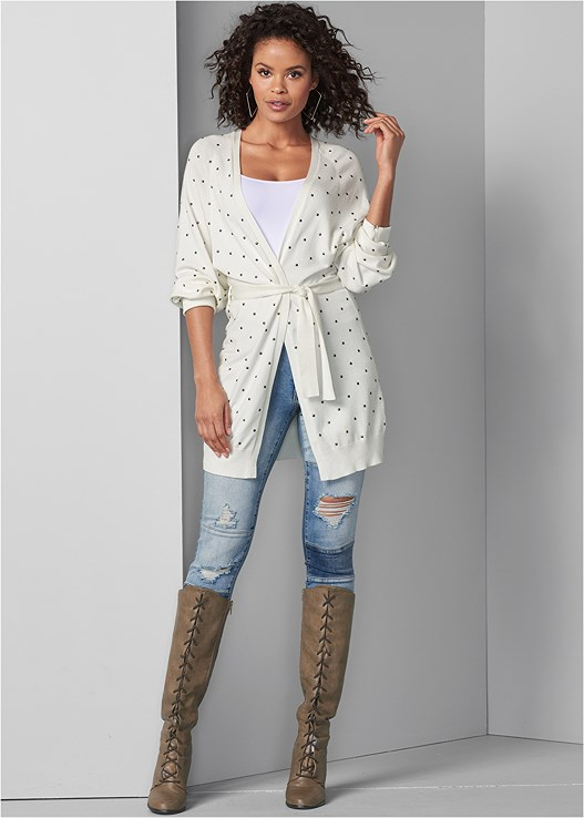 STUD DETAIL LONG CARDIGAN,SEAMLESS CAMI,DISTRESSED PATCHWORK JEANS,LACE UP TALL BOOTS
