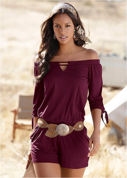 OFF THE SHOULDER ROMPER,NATURAL BEAUTY LACE BANDEAU,STUDDED ANIMAL PRINT SANDAL,BEADED BELT,HOOP EARRINGS